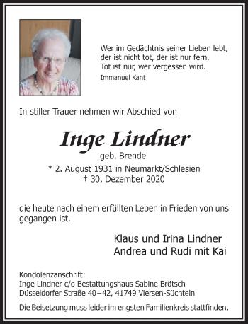 Traueranzeige von Inge Lindner von Rheinische Post