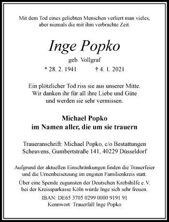 Traueranzeige von Inge Popko von Rheinische Post