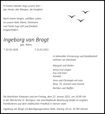 Traueranzeige von Ingeborg van Bragt von Rheinische Post