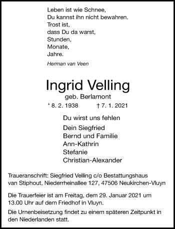 Traueranzeige von Ingrid Velling von Rheinische Post
