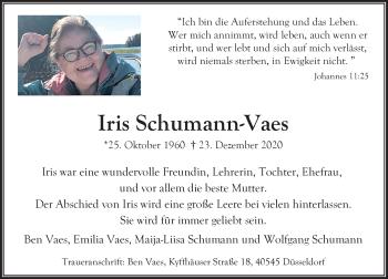 Traueranzeige von Iris Schumann-Vaes von Rheinische Post