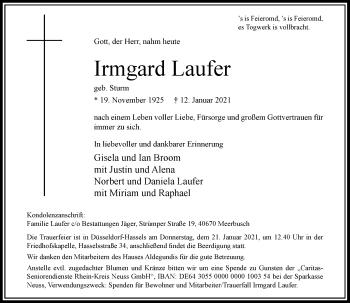 Traueranzeige von Irmgard Laufer von Rheinische Post
