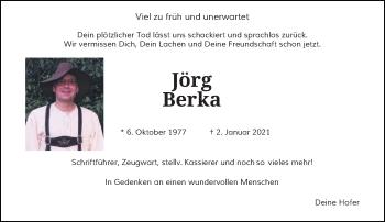 Traueranzeige von Jörg Berka von Rheinische Post