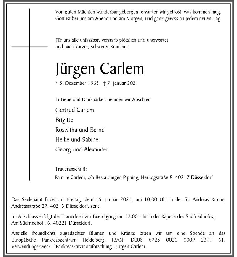 Traueranzeige für Jürgen Carlem vom 13.01.2021 aus Rheinische Post