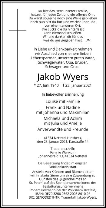 Traueranzeige von Jakob Wyers von Rheinische Post