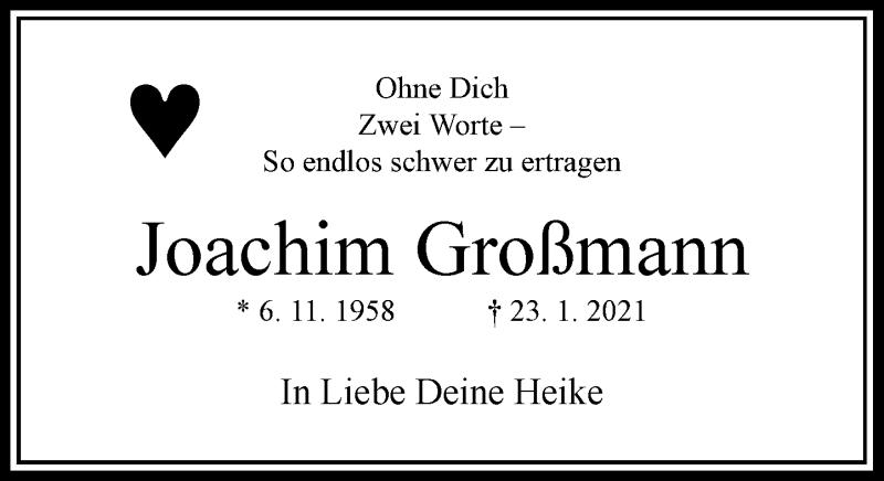 Traueranzeige für Joachim Großmann vom 30.01.2021 aus Rheinische Post