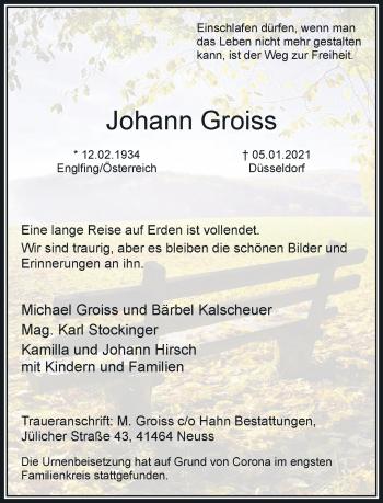 Traueranzeige von Johann Groiss von Rheinische Post