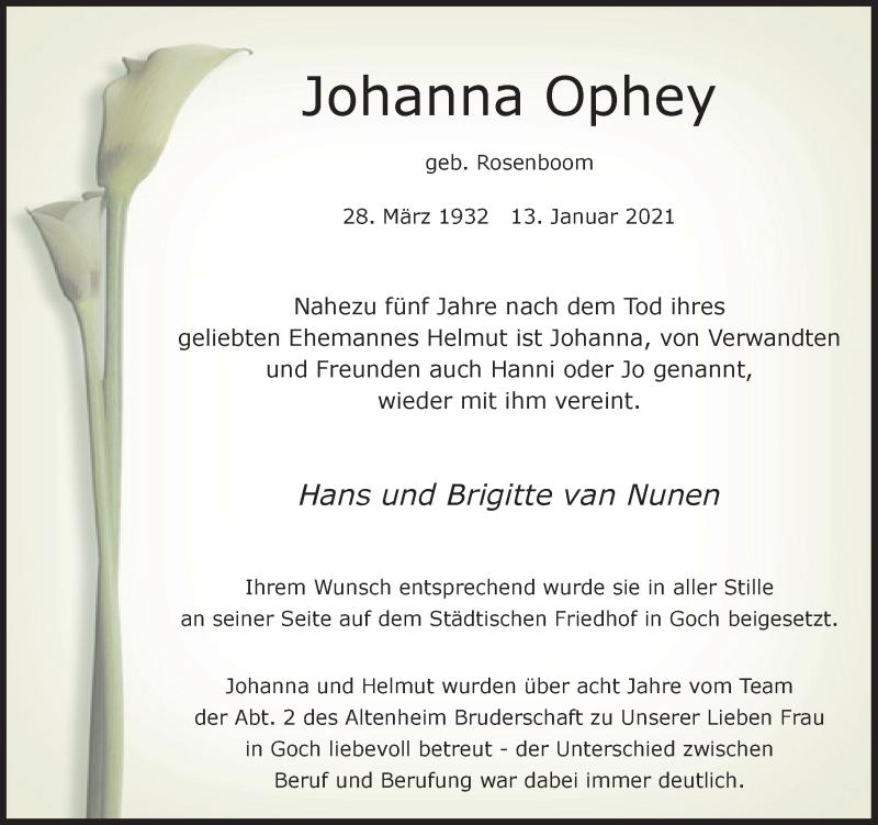 Traueranzeige für Johanna Ophey vom 27.01.2021 aus Rheinische Post