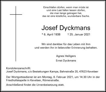 Traueranzeige von Josef Dyckmans von Rheinische Post
