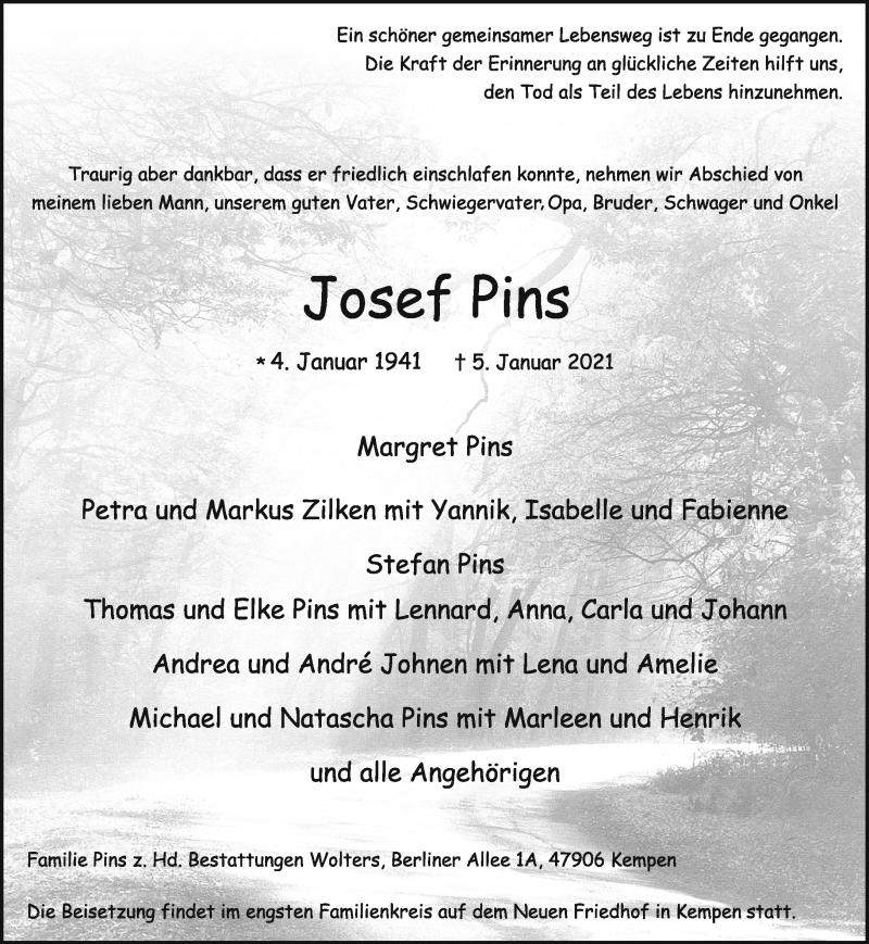 Traueranzeige für Josef Pins vom 09.01.2021 aus Rheinische Post