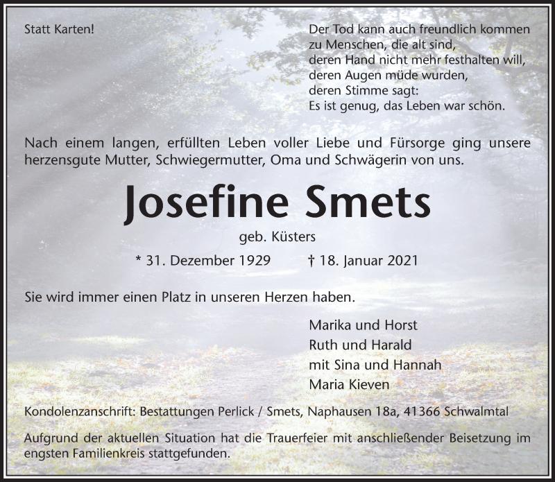 Traueranzeige für Josefine Smets vom 30.01.2021 aus Rheinische Post