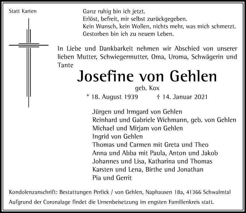 Traueranzeige für Josefine von Gehlen vom 23.01.2021 aus Rheinische Post