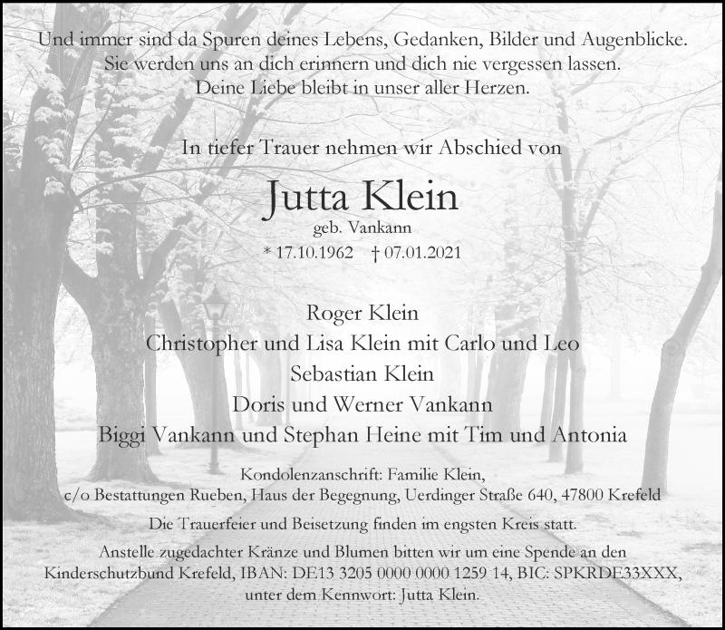 Traueranzeige für Jutta Klein vom 16.01.2021 aus Rheinische Post