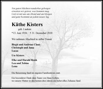 Traueranzeige von Käthe Kisters von Rheinische Post