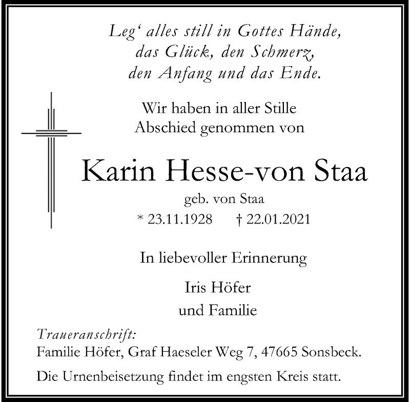 Traueranzeige für Karin Hesse-von Staa vom 27.01.2021 aus Rheinische Post