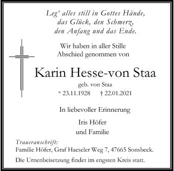 Traueranzeige von Karin Hesse-von Staa von Rheinische Post