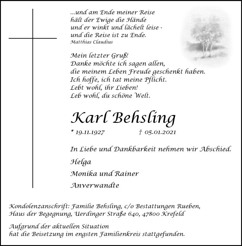 Traueranzeige für Karl Behsling vom 16.01.2021 aus Rheinische Post