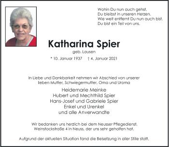 Traueranzeige von Katharina Spier von Rheinische Post