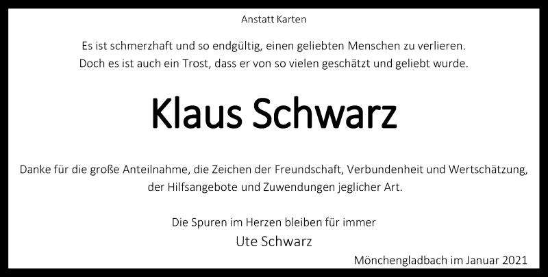 Traueranzeige für Klaus Schwarz vom 30.01.2021 aus Rheinische Post