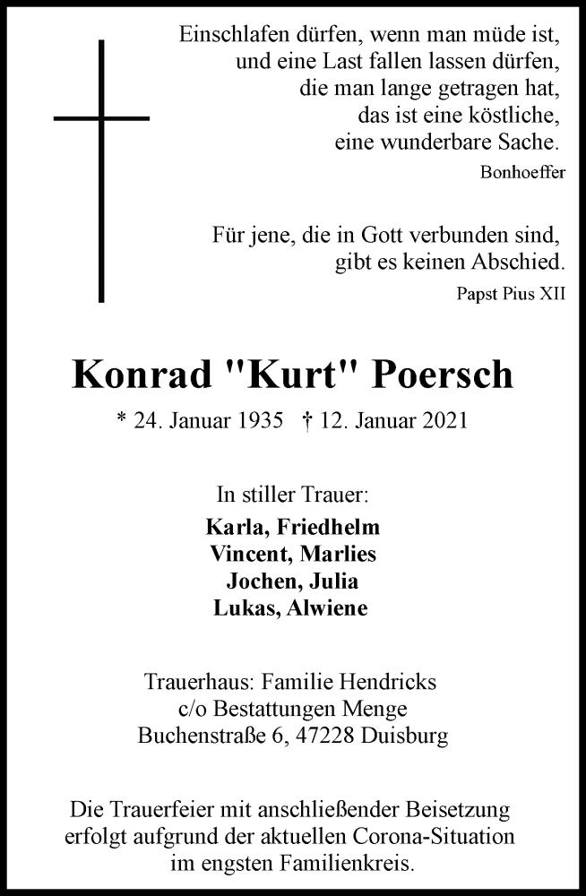 Traueranzeige für Konrad Poersch vom 30.01.2021 aus Rheinische Post