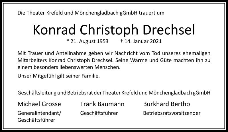 Traueranzeige für Konrad Christoph Drechsel vom 21.01.2021 aus Rheinische Post
