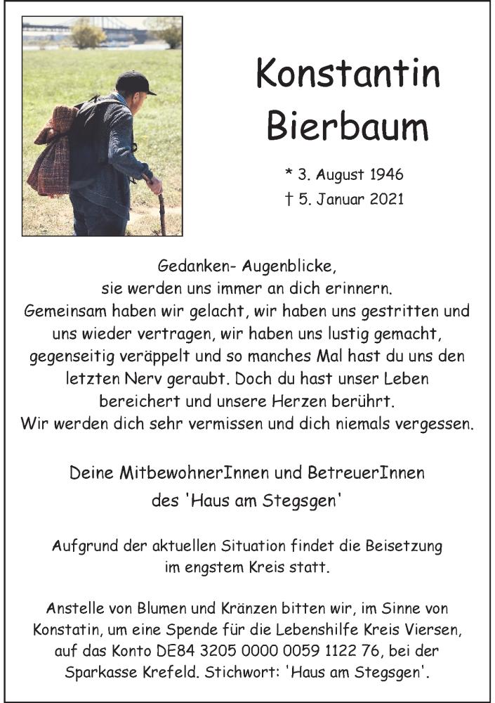 Traueranzeige für Konstantin Bierbaum vom 16.01.2021 aus Rheinische Post