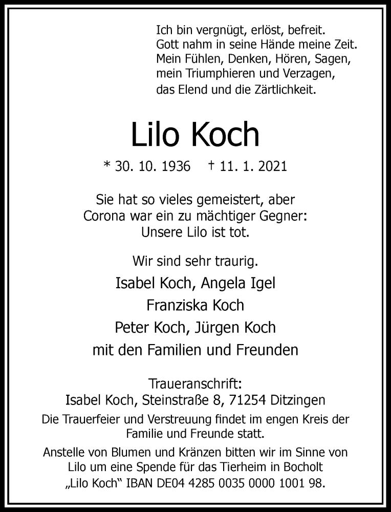 Traueranzeige für Lilo Koch vom 23.01.2021 aus Rheinische Post