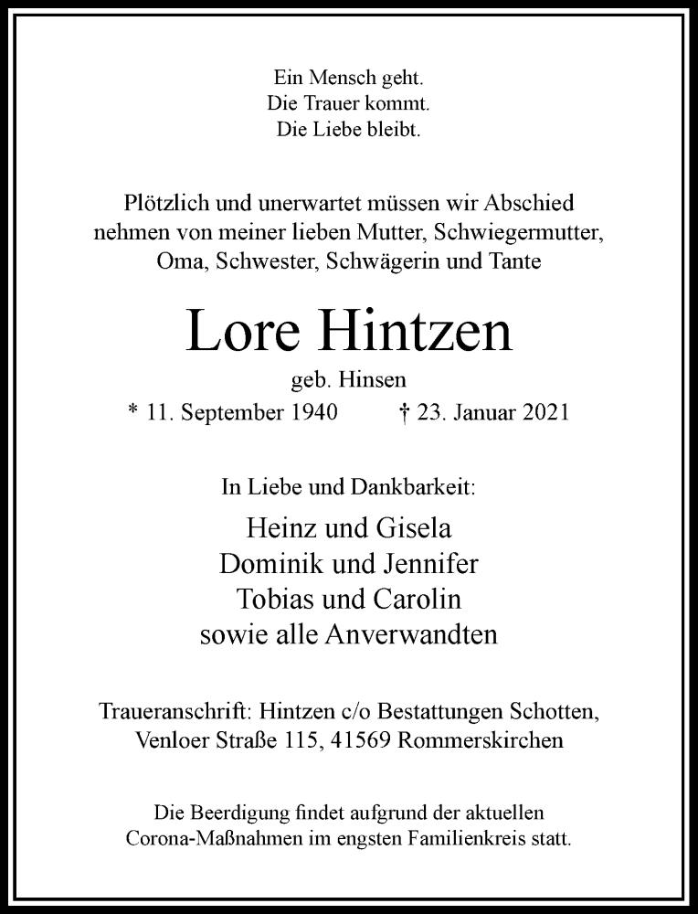Traueranzeige für Lore Hintzen vom 27.01.2021 aus Rheinische Post