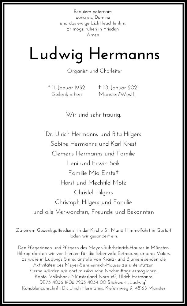 Traueranzeige für Ludwig Hermanns vom 16.01.2021 aus Rheinische Post