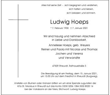 Traueranzeige von Ludwig Hoeps von Rheinische Post