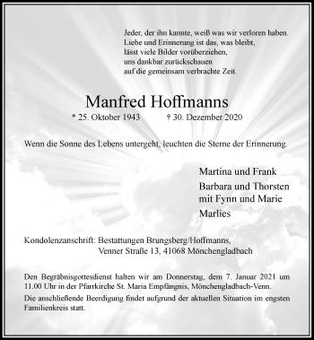 Traueranzeige von Manfred Hoffmanns von Rheinische Post