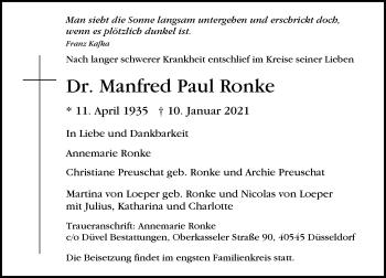 Traueranzeige von Manfred Paul Ronke von Rheinische Post