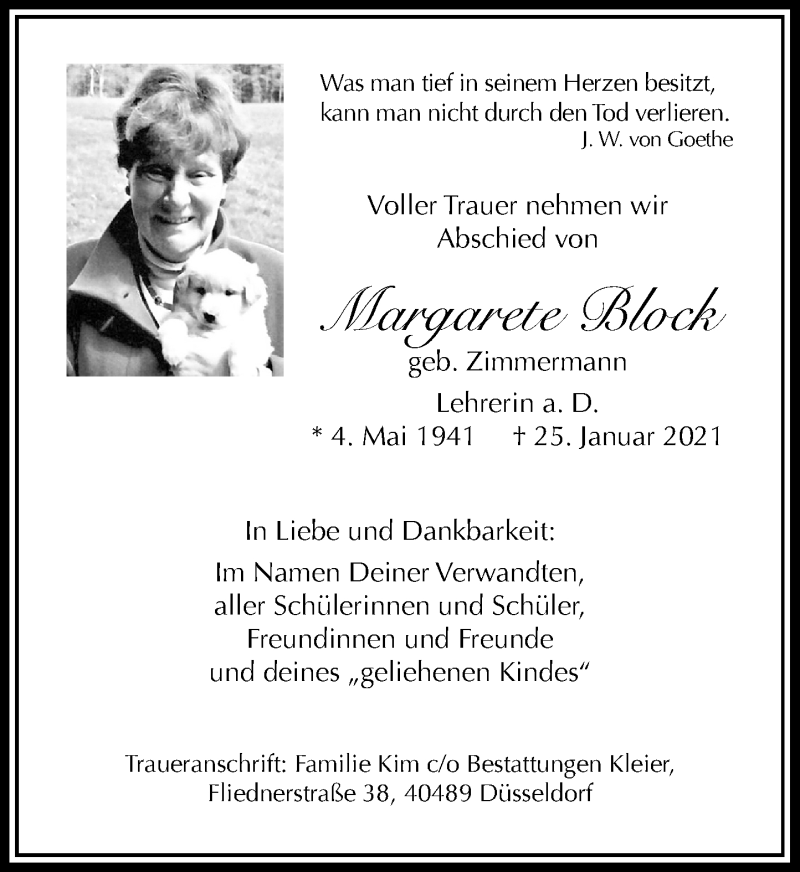 Traueranzeige für Margarete Block vom 30.01.2021 aus Rheinische Post