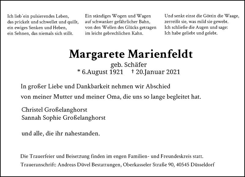 Traueranzeige für Margarete Marienfeldt vom 23.01.2021 aus Rheinische Post