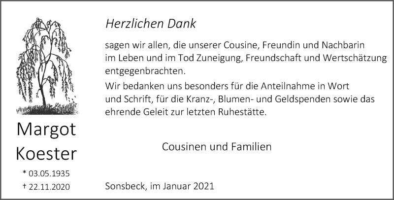 Traueranzeige für Margot Koester vom 30.01.2021 aus Rheinische Post