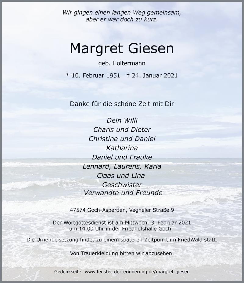 Traueranzeige für Margret Giesen vom 29.01.2021 aus Rheinische Post