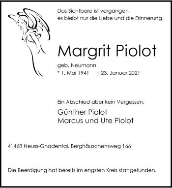 Traueranzeige von Margrit Piolot von Rheinische Post