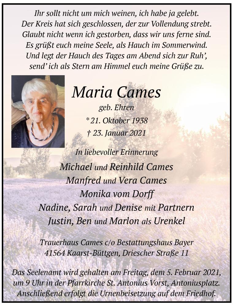 Traueranzeige für Maria Cames vom 30.01.2021 aus Rheinische Post