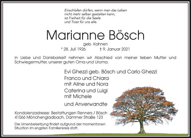 Traueranzeige für Marianne Bösch vom 16.01.2021 aus Rheinische Post
