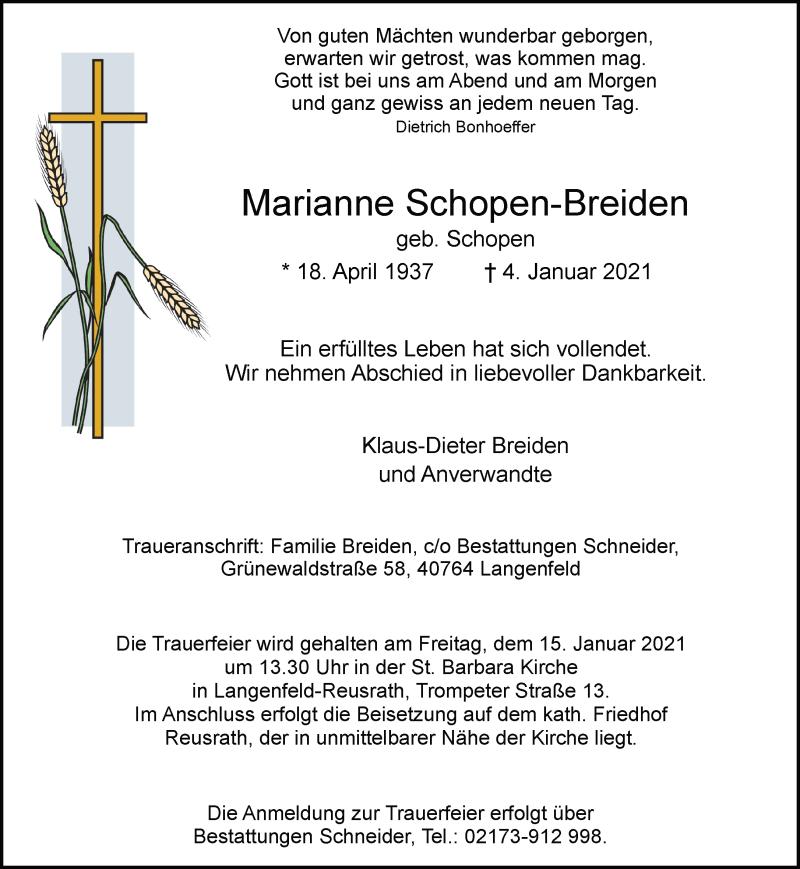 Traueranzeige für Marianne Schopen-Breiden vom 09.01.2021 aus Rheinische Post
