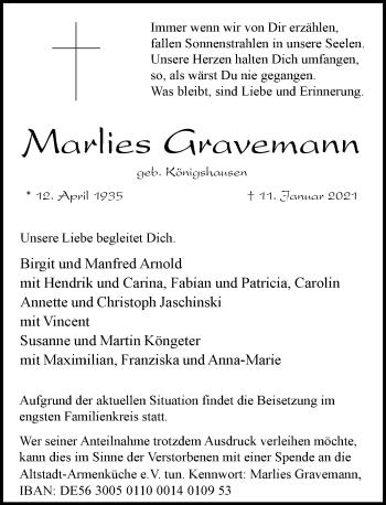 Traueranzeige von Marlies Gravemann von Rheinische Post