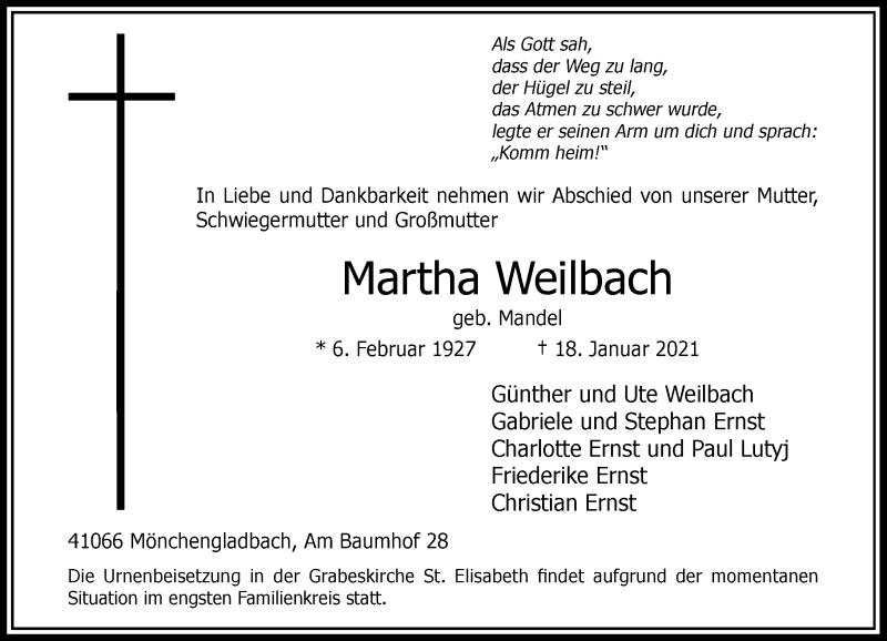 Traueranzeige für Martha Weilbach vom 23.01.2021 aus Rheinische Post
