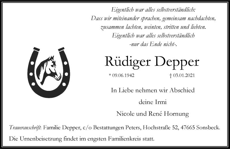 Traueranzeige für Rüdiger Depper vom 09.01.2021 aus Rheinische Post