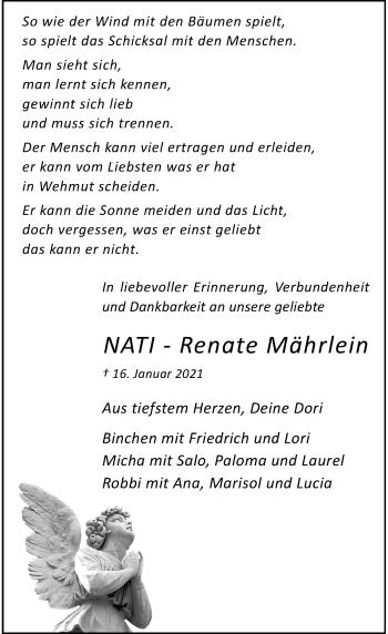 Traueranzeige von Renate Mährlein von Rheinische Post