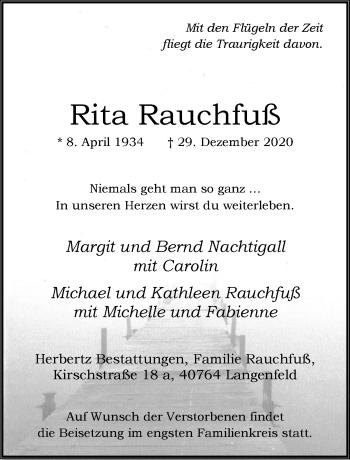 Traueranzeige von Rita Rauchfuß von Rheinische Post