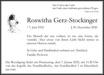Traueranzeige von Roswitha Gerz-Stockinger von Rheinische Post