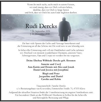 Traueranzeige von Rudi Dercks von Rheinische Post