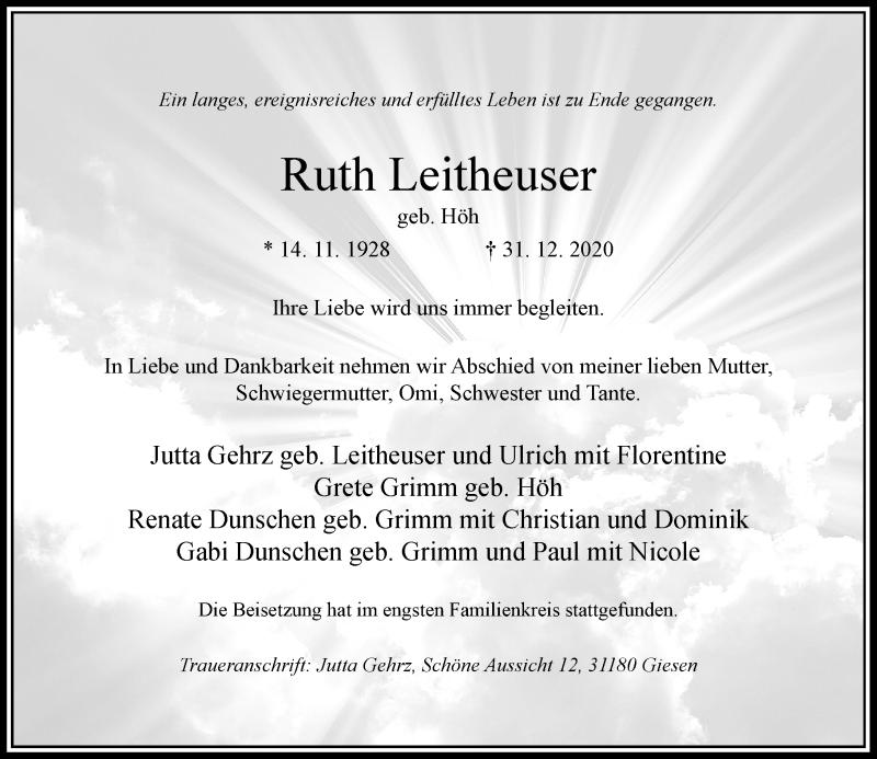 Traueranzeige für Ruth Leitheuser vom 09.01.2021 aus Rheinische Post