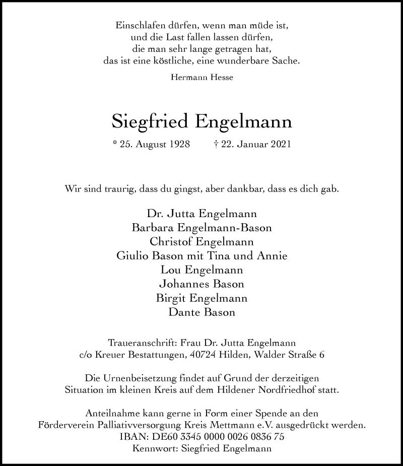 Traueranzeige für Siegfried Engelmann vom 30.01.2021 aus Rheinische Post