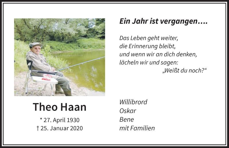 Traueranzeige für Theo Haan vom 25.01.2021 aus Rheinische Post